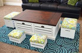 wood crate coffee table and stool set