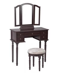 cherry makeup vanity table set tri folding mirror makeup table with 5 drawers 52
