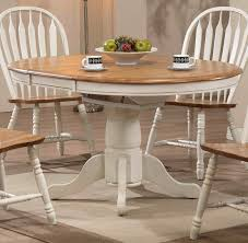 missouri round antique white rustic oak single pedestal table only eci furniture dining t
