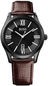 men s hugo boss ambassador leather strap watch 1513023