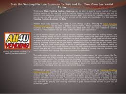 Coffee Vending Machine Business For Sale Gorgeous Grab The Vending Machine Business For Sale And Run Your Own Successfu