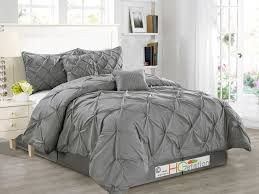 grey pintuck bedding uk on piece luxurious pinch pleat decorative pintuck comforter s