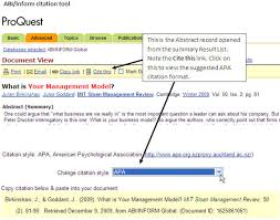 apa referencing a guide for business students beis the  citation tool in abi inform
