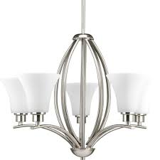 progress lighting joy collection 5 light brushed nickel chandelier with etched glass shade