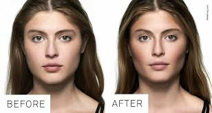 cheek contour before and after. anything you want to bring out, lighten, and take back, darken. so suck your cheeks in add shadow just beneath the bone cheek contour before after l
