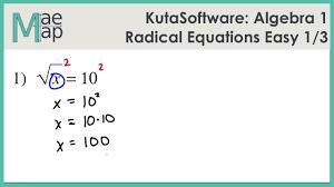 kuta algebra 1 radical equations easy part 1