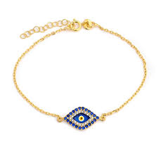 delicate turkish navy blue evil eye charm thin chain link bracelet for women teens 14k gold plated 925 sterling silver