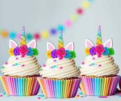 Amazoncom Unicorn Rainbow Horn Edible Cupcake Cake Toppers X15