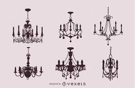 Sechs Vintage Kronleuchter Vektor Download