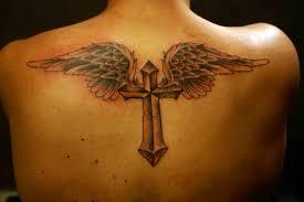 Cross Angel Wings Tattoo On Upper Back Tattoo 6 Best Tattoo