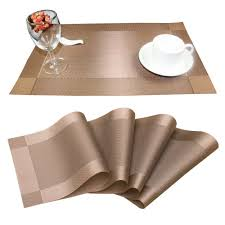 Amazon.com: Placemats, Fenztop Heat-resistant Placemats, Stain Resistant  Washable PVC Table Mats, Woven Vinyl Placemats with Thermal Bonded Edges,  ...