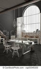 minimalist modern industrial office desk dining. Industrial Office With Big Window, Open Space, Loft Interior Design, Modern Minimalist Architecture Desk Dining