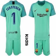 Jersey - Kids Jerseyssoccer Sale 15 1 Goalkeeper Terstegen For club Kid Green 00 2018-2019 Soccer Barcelona