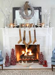 White Fireplace Christmas Decoration Feature White Pine Christmas Tree  Ornament And White Twigs Wreath
