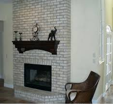 white stone fireplace ideas awesome white brick exposed faux fireplace with mantel also wooden armchair at