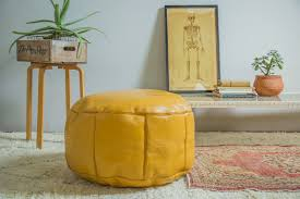 yellow pouf ottoman. Contemporary Pouf Previous Image Next Image Antique Revival Leather Moroccan Pouf Ottoman   Mustard Yellow  In O