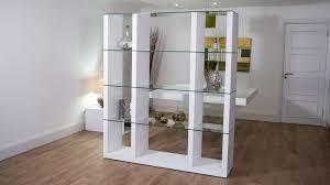 white oak shelving unit glass shelves room divider uk throughout bookcase design 10