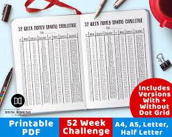 52 Week Money Savings Chart Money Saving Challenge Printable Bullet Journal Savings Tracker Bujo Savings Chart Savings Planner 52 Week Challenge Finance Planner