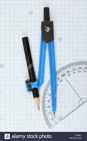 Compass And Protractor On Graph Paper Stock Photo 69662601 Alamy