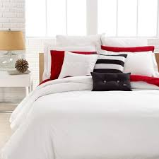 lacoste bedding solid white brushed
