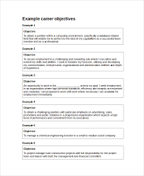 It Career Objective Examples 8 Night Club Nyc Guide