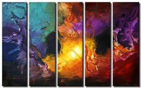 multi panel canvas colorful abstract painting