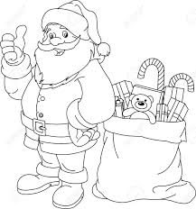 Small Picture Coloring Page For Christmas And New Year Santa Claus Bag With