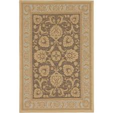 ecarpet gallery versailles antique dark brown light yellow 5 ft x 7 ft
