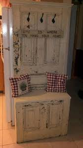 turn an old door into a seat bench