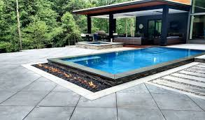 patio with square pool. Paver Pool Deck With Slab Sized Square Pavers Patio L