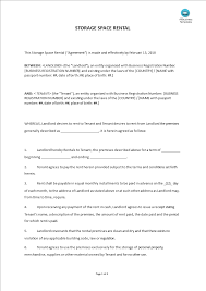 A rental agreement form includes details of landlord, tenant, rent amount duration and rent agreement clauses. Storage Space Rental Form Templates At Allbusinesstemplates Com