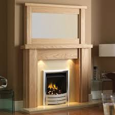 modern oak fireplace surround and mantels with small glass table full size