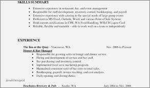 Bartender Job Description For Resume Fresh Bartender Server Resume