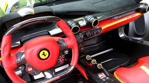 Video Clip Of Yellow Ferrari Laferrari Interior, Red And Black  Interior