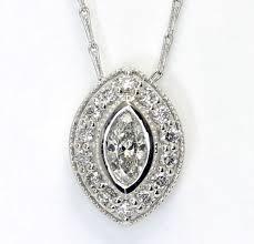details about diamond halo pendant necklace 14k white gold marquise round brilliant 70c chain