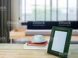 Frame For Living Room Photo Frame On Wooden Table Top Living Room Blurry Background