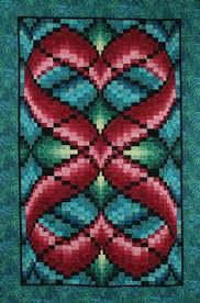 Hearts Entwined bargello quilt, 46 x 70