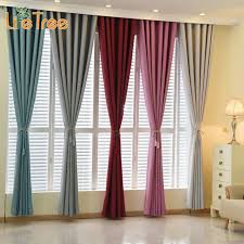 modern linen curtains for living room bedroom solid window blackout custom made 23 colors