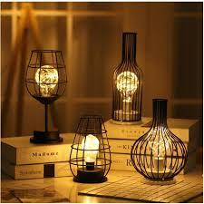 Creative Holiday <b>Retro</b> Iron Art Minimalist Hollow <b>Table Lamps</b> ...