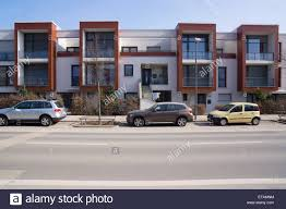 Terraced house, modern architecture in the Bauhaus style, Riedenberg,  Frankfurt, Germany, Europe - 2014