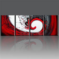hand painted red black white canvas oil painting modern abstract wall art living room decorative art on red white wall art with hand painted red black white canvas oil painting modern abstract