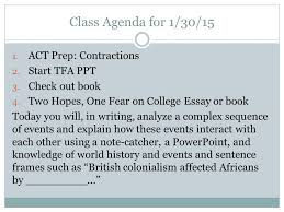 class agenda for act prep contractions start tfa act prep contractions 2