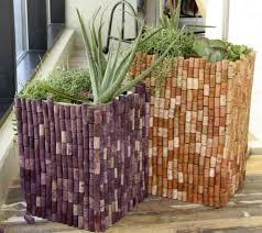 large diy wine cork flower pots