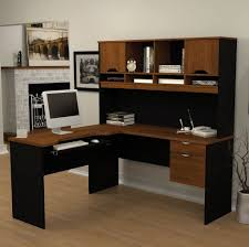 shaped computer desk with hutch in l dainty