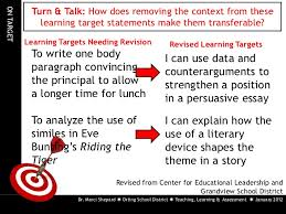 purpose teaching effective learning targets and success criteria  learning assessment  2012 49