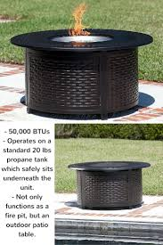 multifunctional bellante woven cast aluminum lpg fire pit is 50 000 btus and operates on a standard 20 lbs propane tank which safely sits underneath the