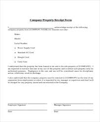 company property acknowledgement form company property receipt template
