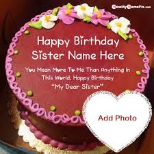 chocolate birthday cake with sister