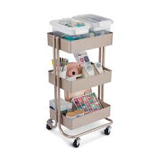 Champagne Lexington 3-Tier Rolling Cart By Recollections