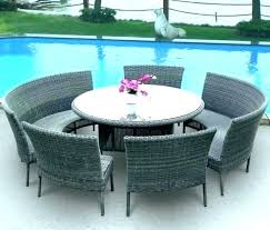 concrete outdoor dining table with umbrella hole patio planter round sets white wicker small whi
